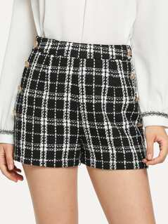 Double Breasted Tweed Shorts