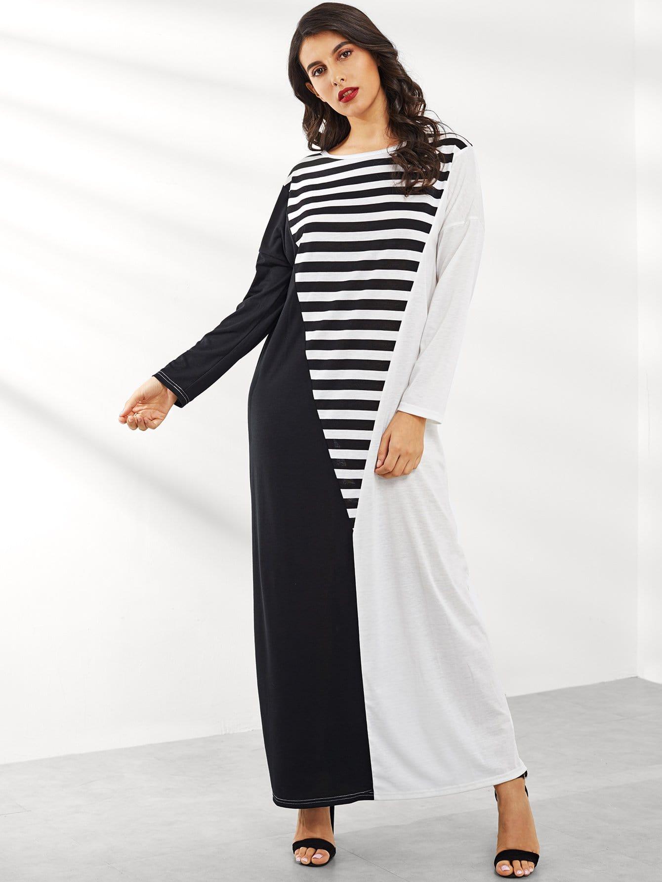 Купить Контрастное полосатое платье с заниженной линией плеч, Jeane, SheIn