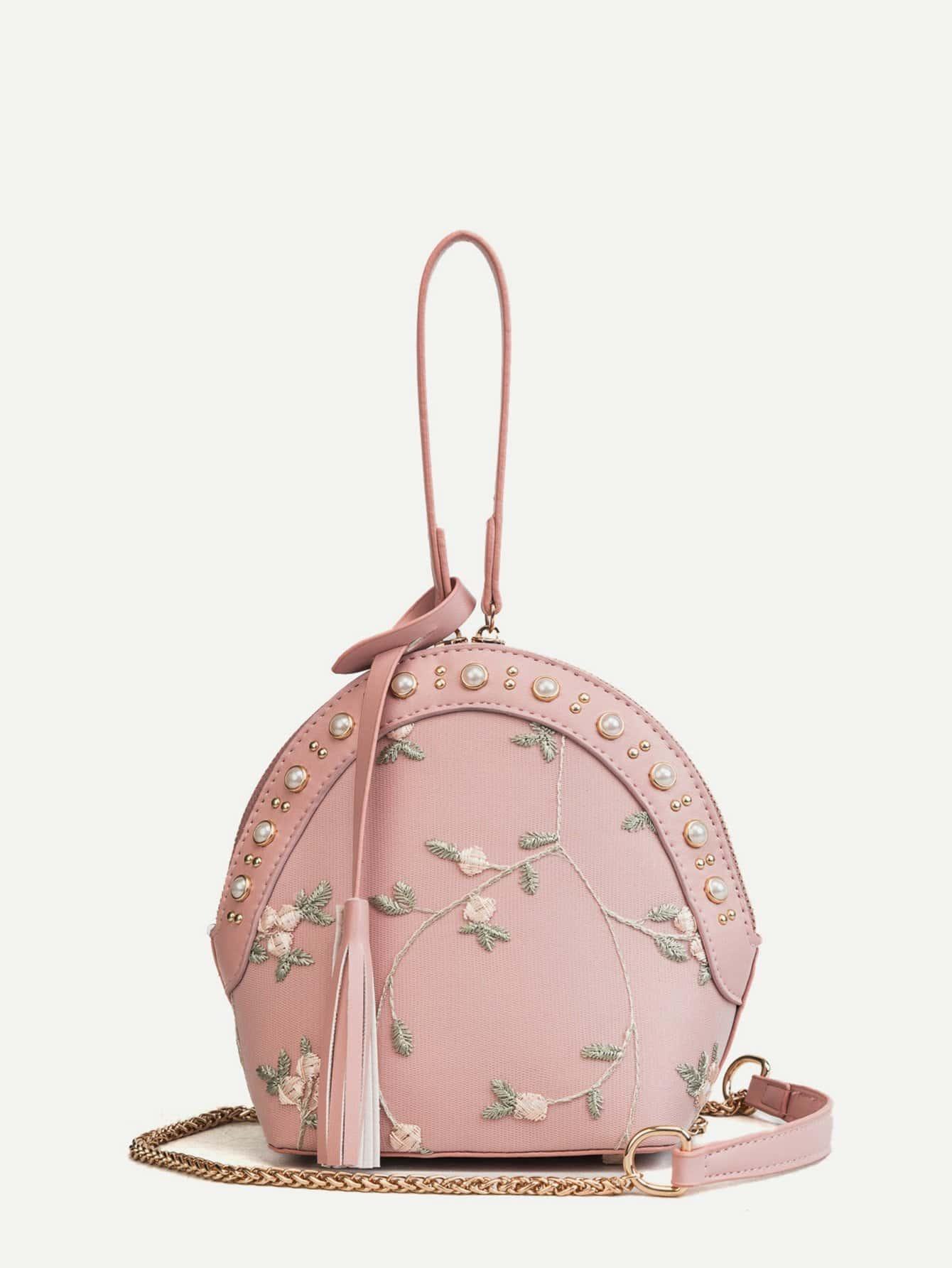 Купить Сумка через плечо с принтом вышитых цветов и украшением искусственных жемчугов, null, SheIn