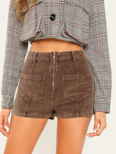 Zip Front Double Pockets Corduroy Shorts