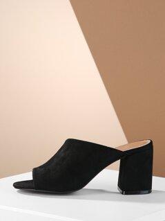 Asymmetric Band Chunky Heel Open Toe Slip On Mules