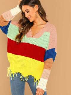 Fringe Edge V-Neck Colorblock Rib Knit Sweater