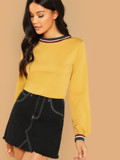Striped Banded Terry Knit Crop Long Sleeve Top