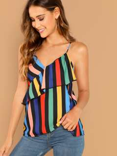 Striped Sleeveless Criss Cross Ruffle Trim Cami