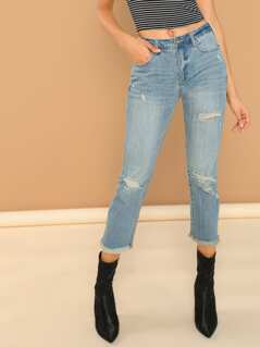 Raw Cute Cropped Distressed Denim Light Wash Jeans