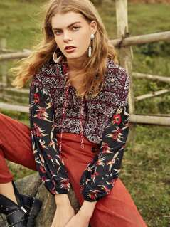Drop Shoulder Mixed Print Blouse