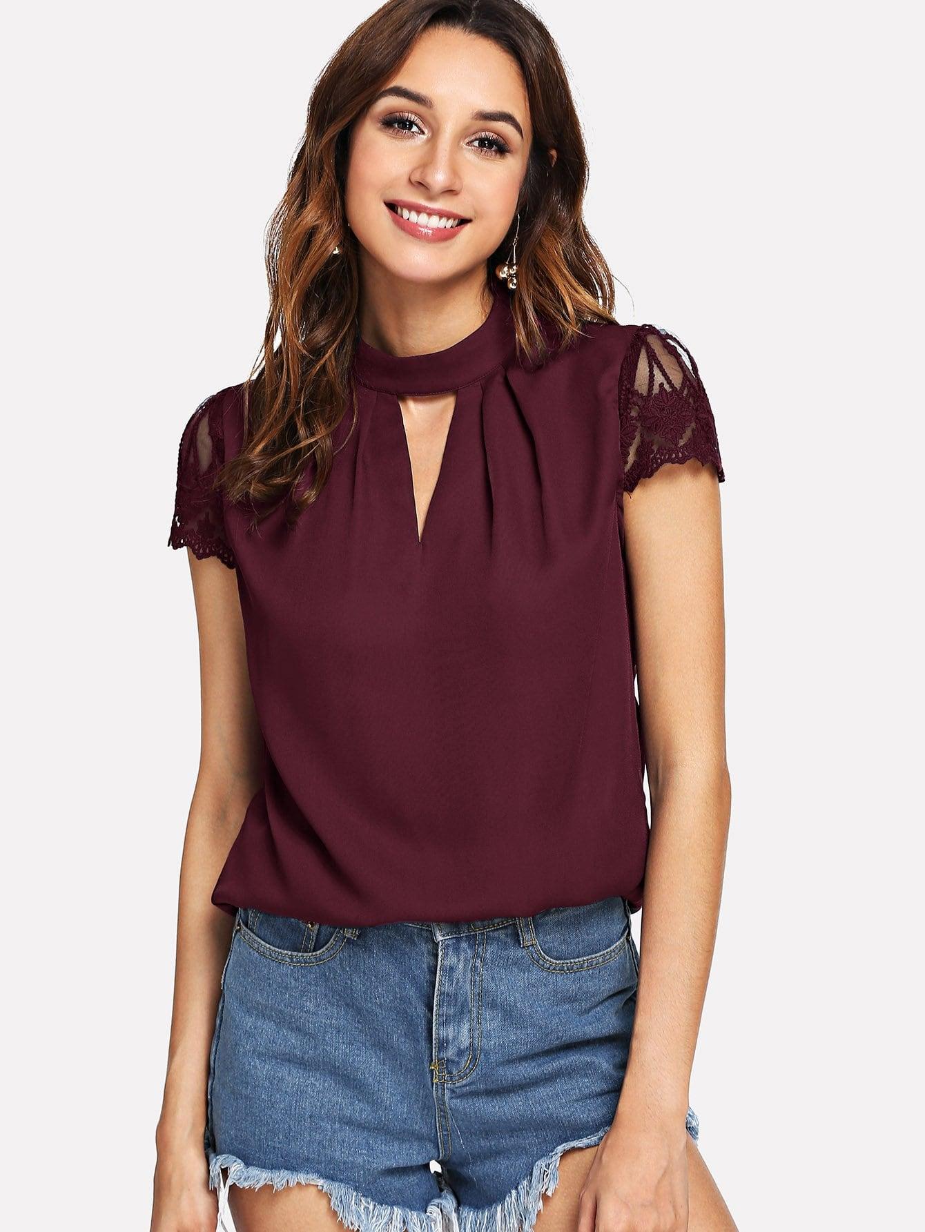 Купить Блузка с кружевным рукавом с v-образным вырезом, Mary P., SheIn