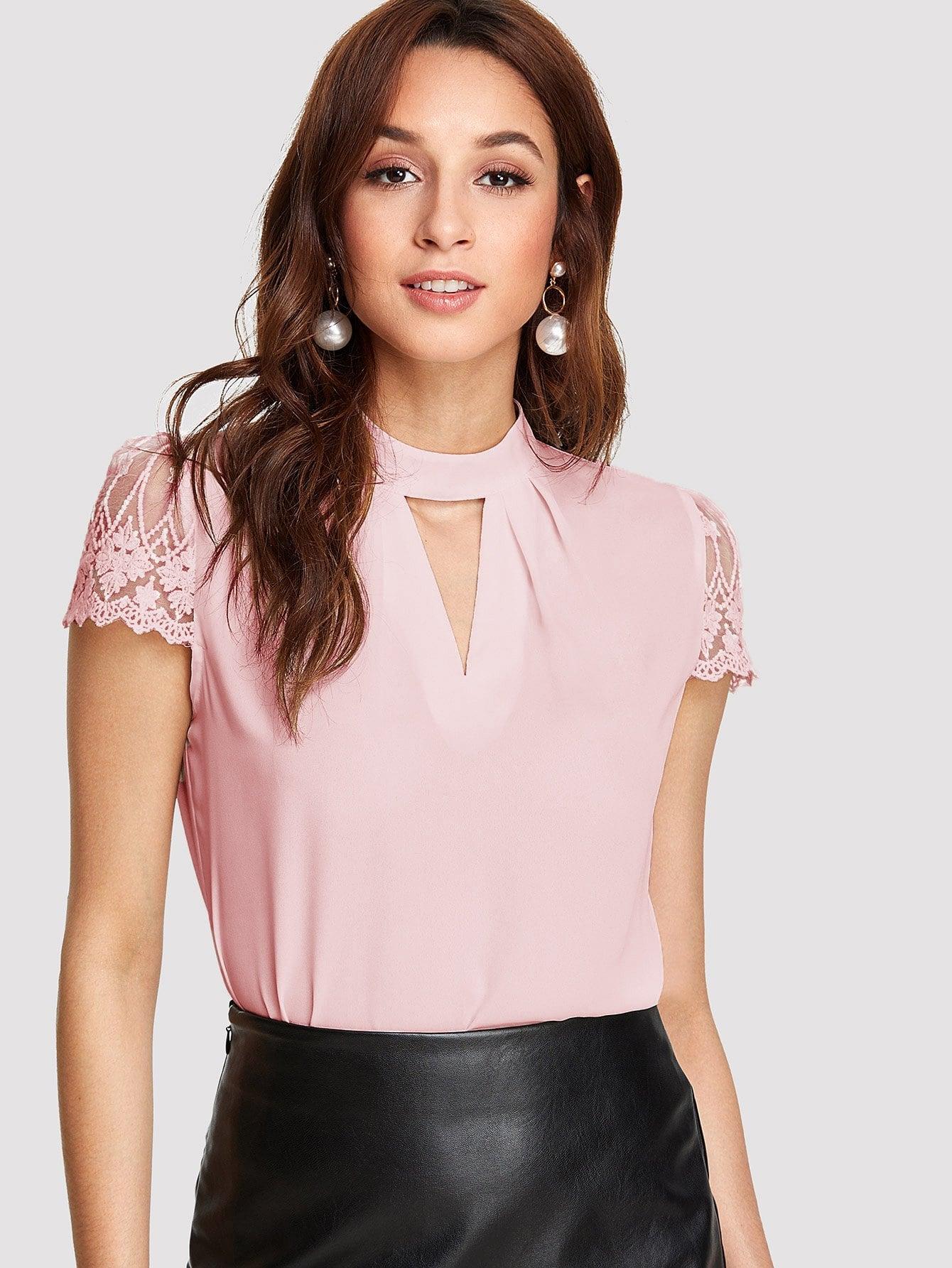 Купить Блуза с V-образным вырезом и рукав с кружевами, Mary P., SheIn