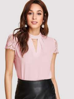 Keyhole Neck Guipure Lace Sleeve Top