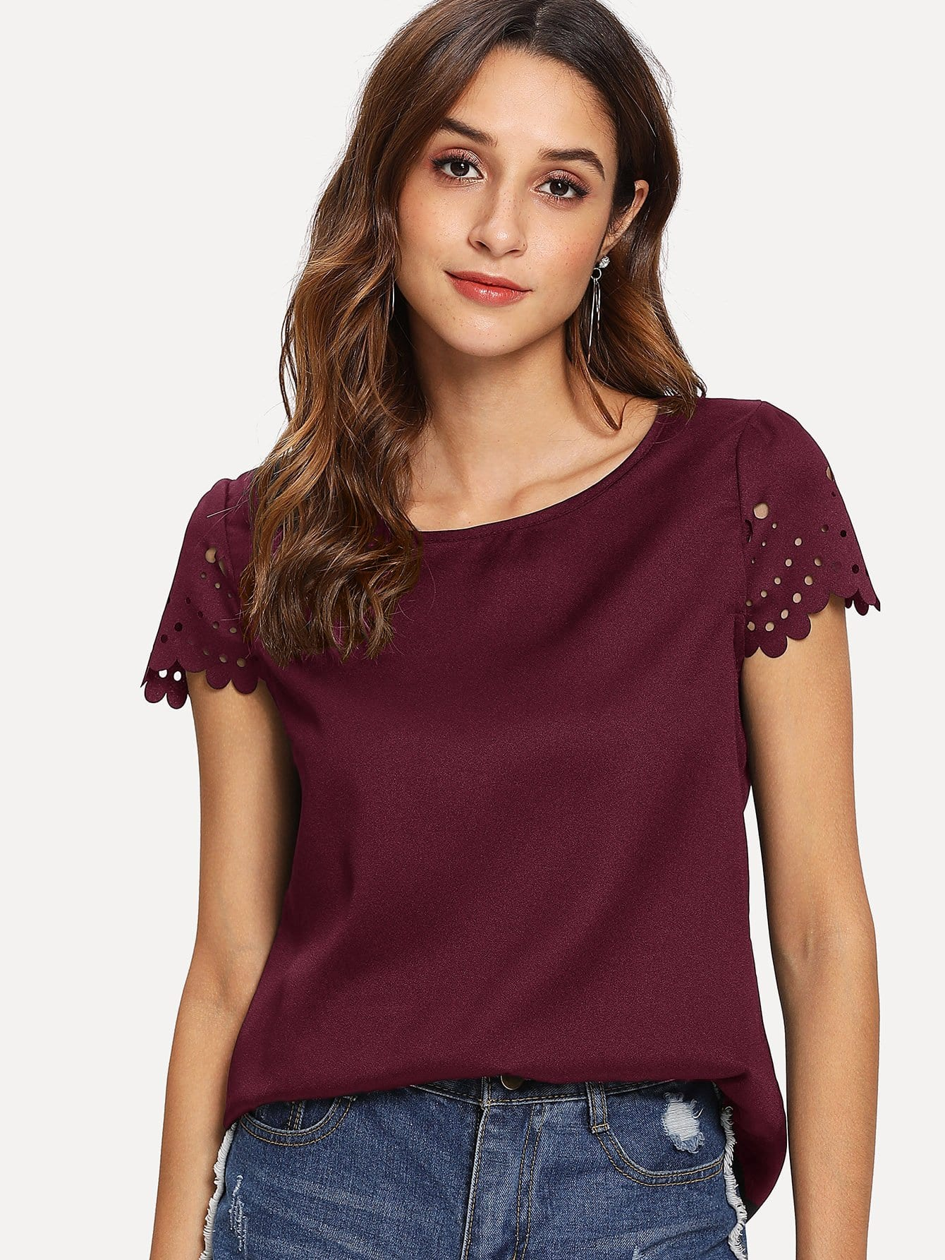 Купить Гребешок лазерная резка блузка с коротким рукавом, Jeane, SheIn