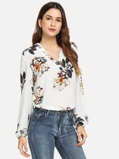 Blouson Sleeve Floral Print Top