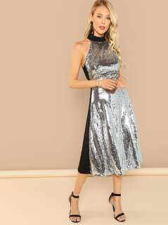 Two Tone Sequin Halterneck Dress