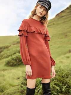 Bishop Sleeve Rib Knit Ruffle Dress