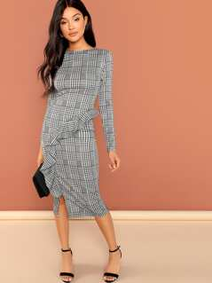 Ruffle Detail Split Plaid Dress