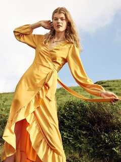 Tie Waist Bishop Sleeve Surplice Wrap Dress