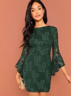 Flounce Sleeve Guipure Lace V Back Dress