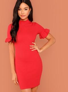 Mock Neck Ruffle Sleeve Solid Dress