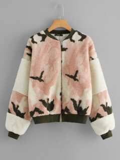 Zip Up Faux Fur Coat