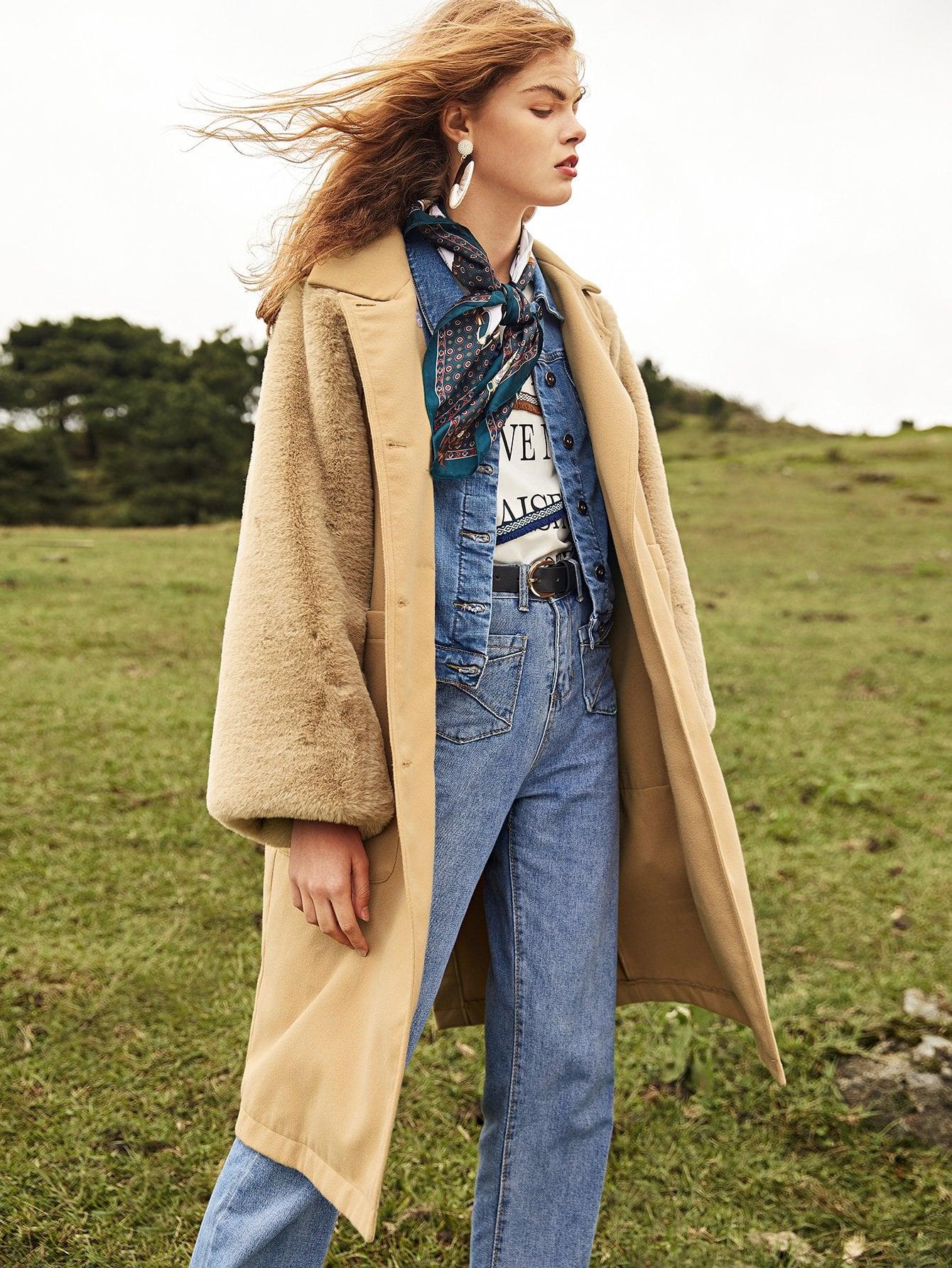 Купить Контрастное двубортное пальто из искусственной меха, null, SheIn