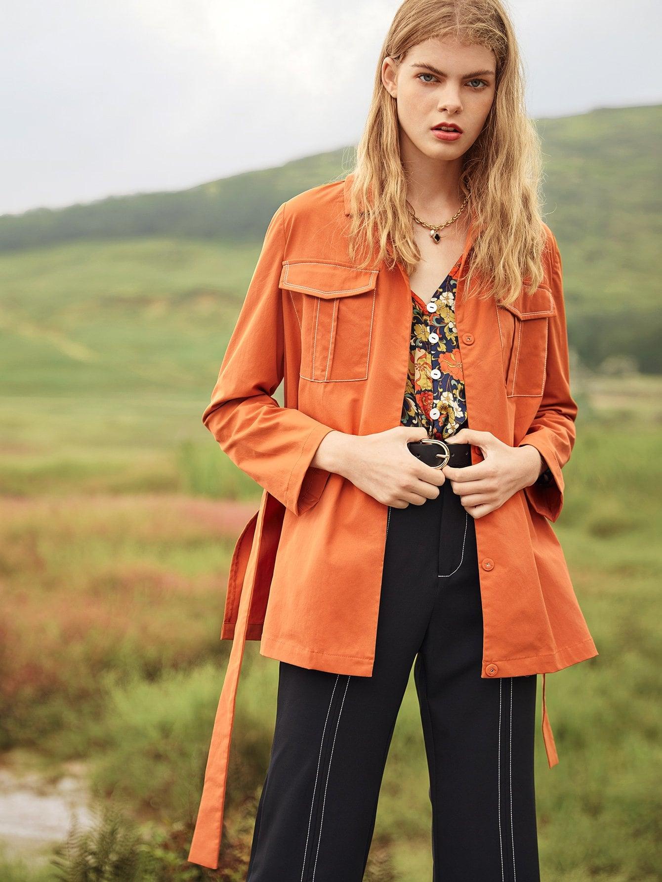 Пальто с поясом и карманом с украшением горного хрусталя SheIn
