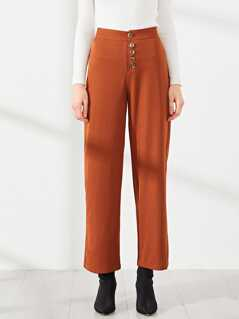 Solid Button Fly Pants