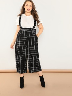 Plus Grid Pants With Strap