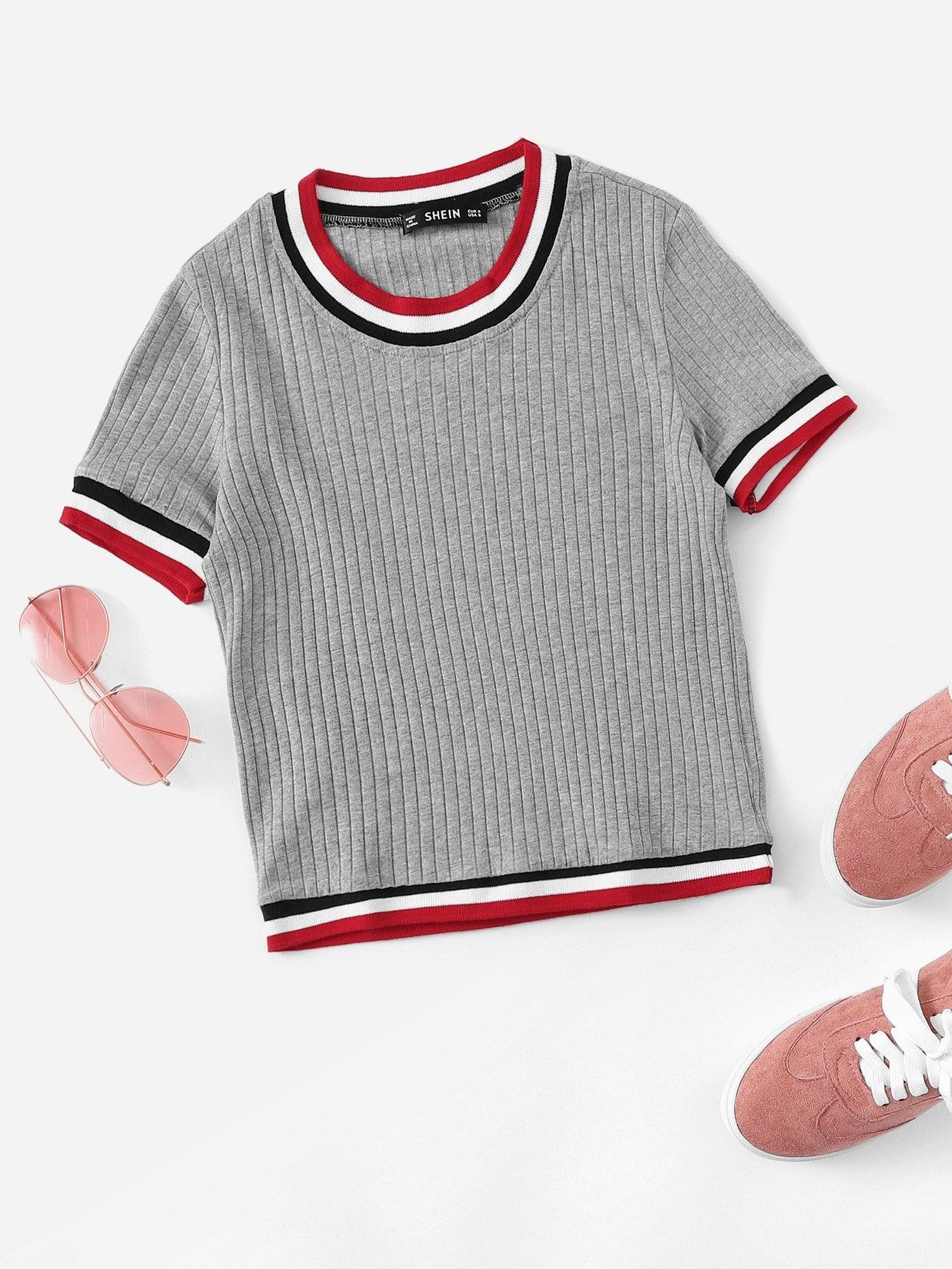 Купить Кроп-футболка с рельефными узорами и со симметрическими полосами, null, SheIn