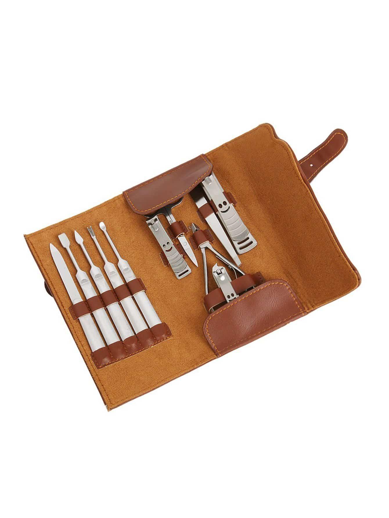 Купить Набор для ногтей из нержавеющей стали с корпусом 12шт, null, SheIn