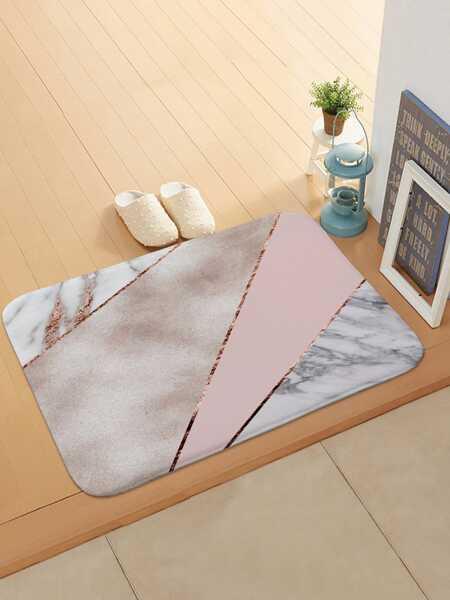 Color Block Marble Pattern Doormat