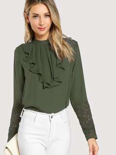 Jabot Collar Guipure Lace Top