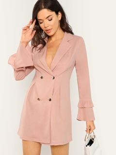Double Breasted Flounce Sleeve Blazer Dress