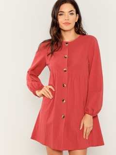 Lantern Sleeve Button Up Dress
