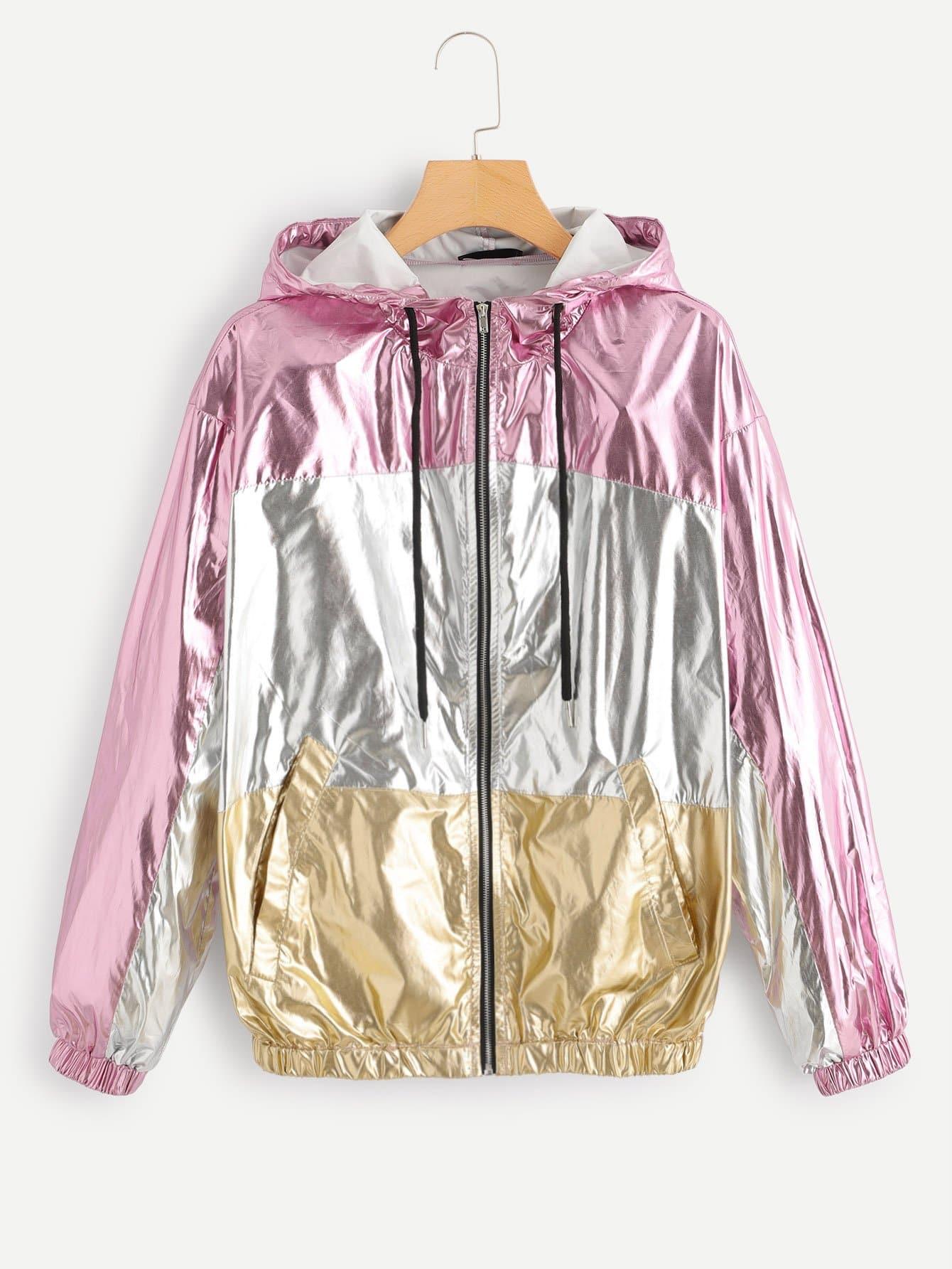 Цветной блок Zip Up Drawstring Hoodie Jacket
