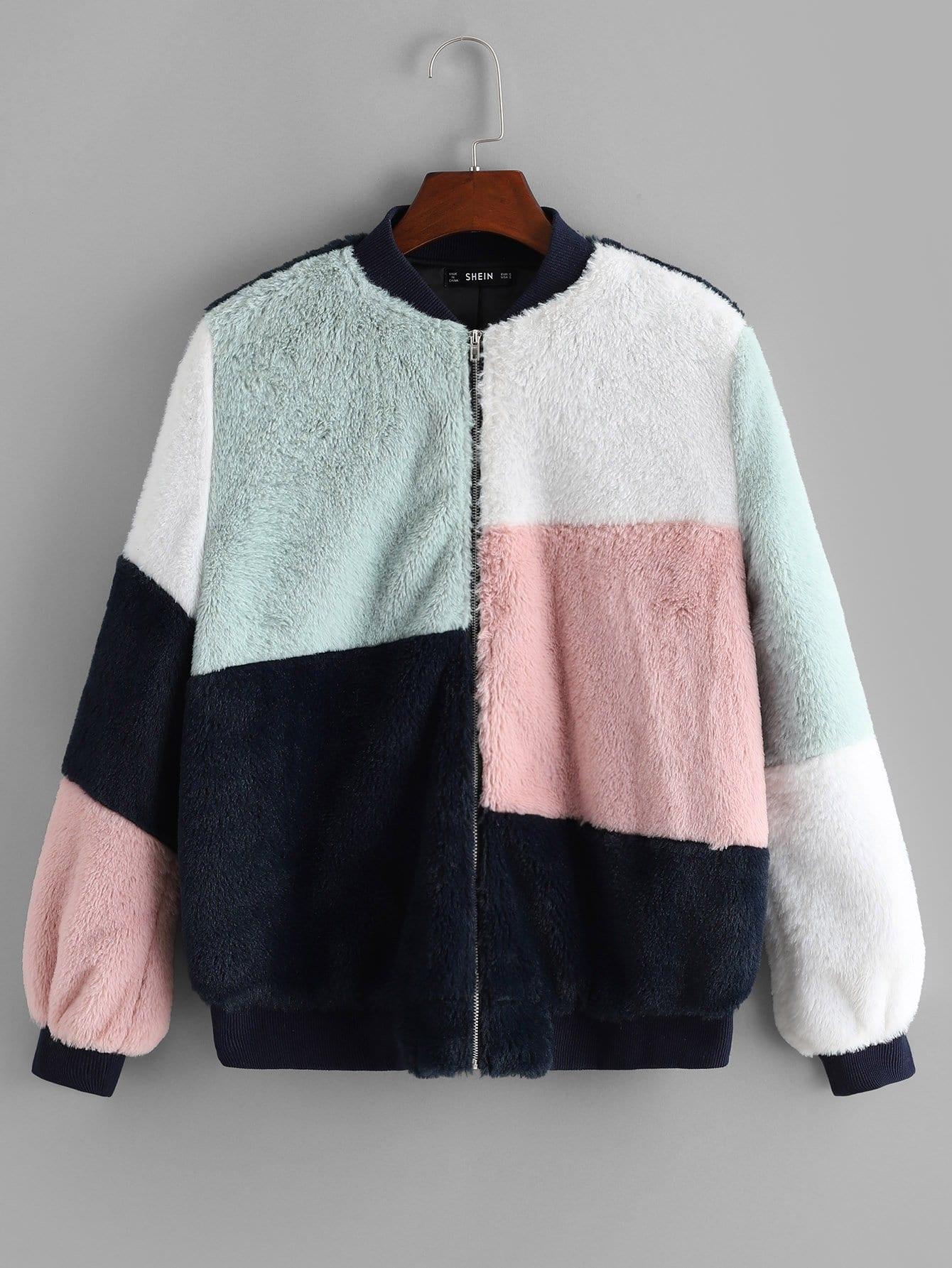 Купить Контрастное пальто из искусственных кож и с застёжкой молния, null, SheIn