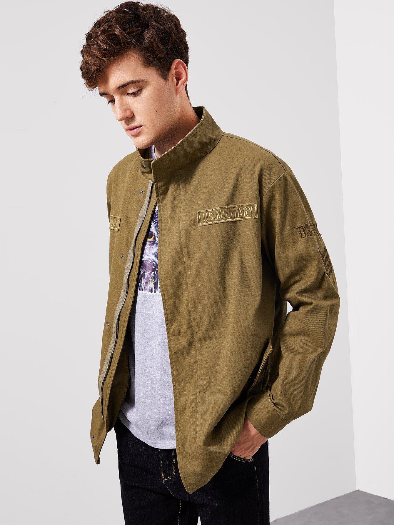 Купить Пальто с заплатой буквы и плоскими карманами для мужчины, Jan, SheIn