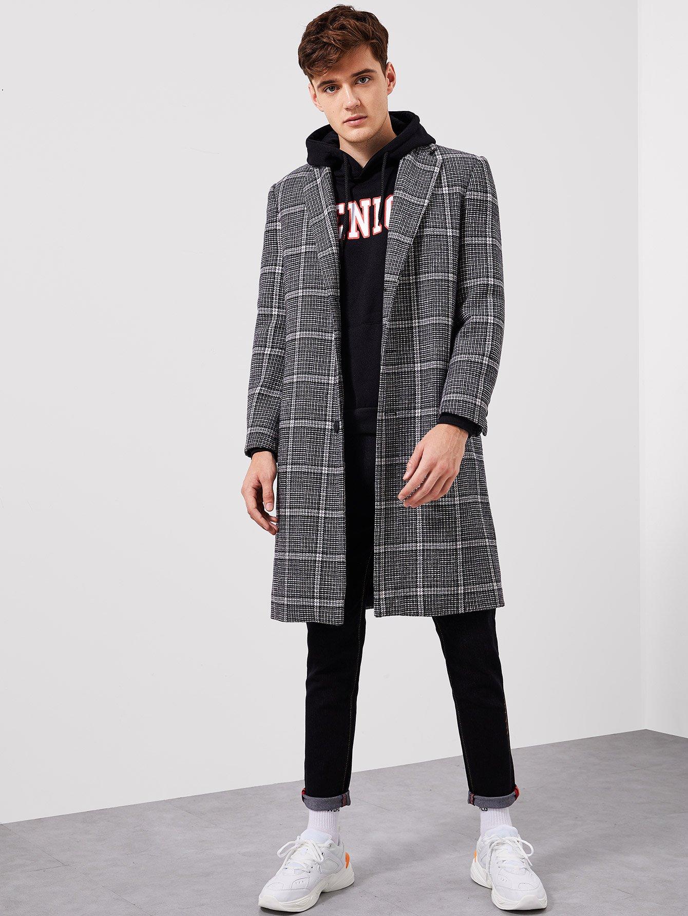 Купить Для мужчин пальто в клетку с зубчатым воротником, Jan, SheIn