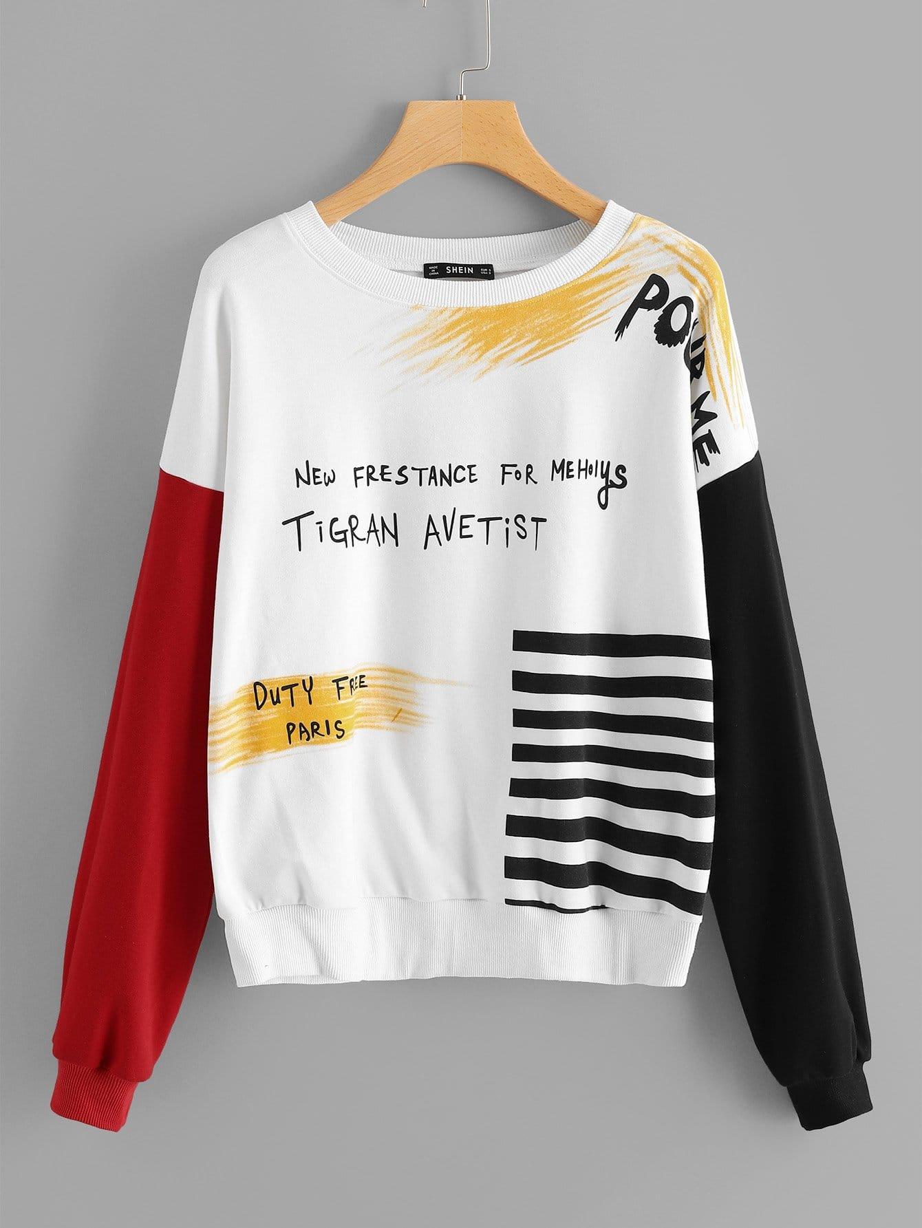 Купить Пуловер в полоску с принтом букв, null, SheIn