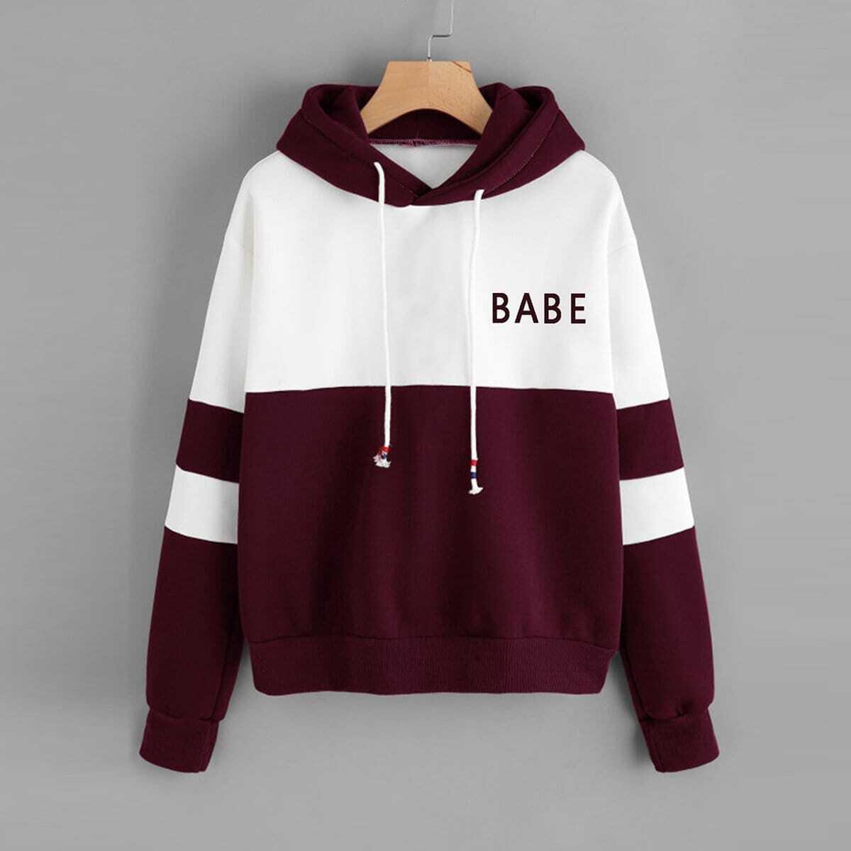 Kleurblok hoodie met letterprint