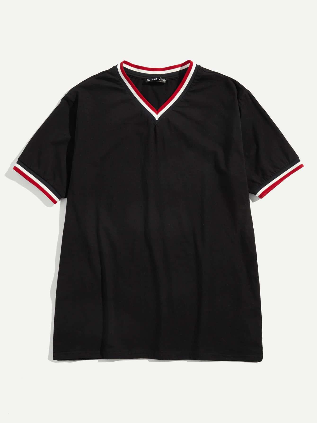 Купить Для мужчин футболка в полоску с v-образным вырезом, null, SheIn