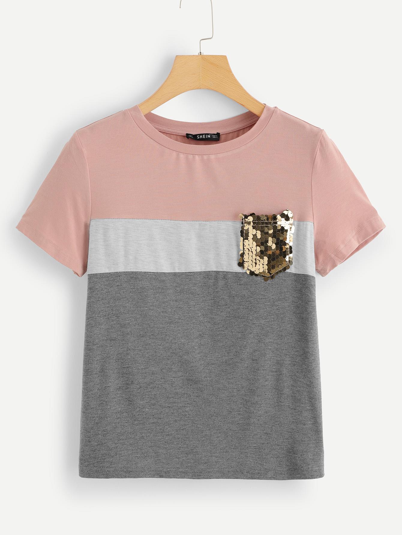 Купить Кроить и шить футболка с карманом блестки, null, SheIn
