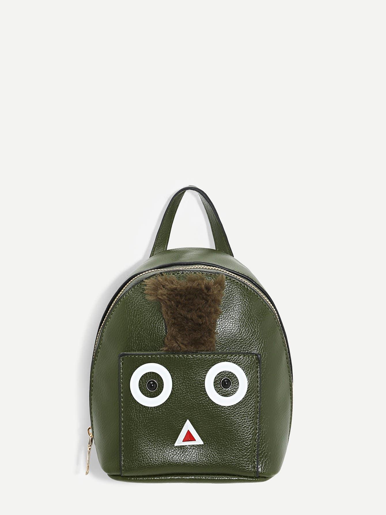 Купить Кожаный рюкзак с принтом мультфильма, null, SheIn