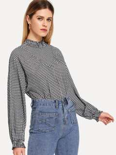 Shirred Neck and Cuff Gingham Top