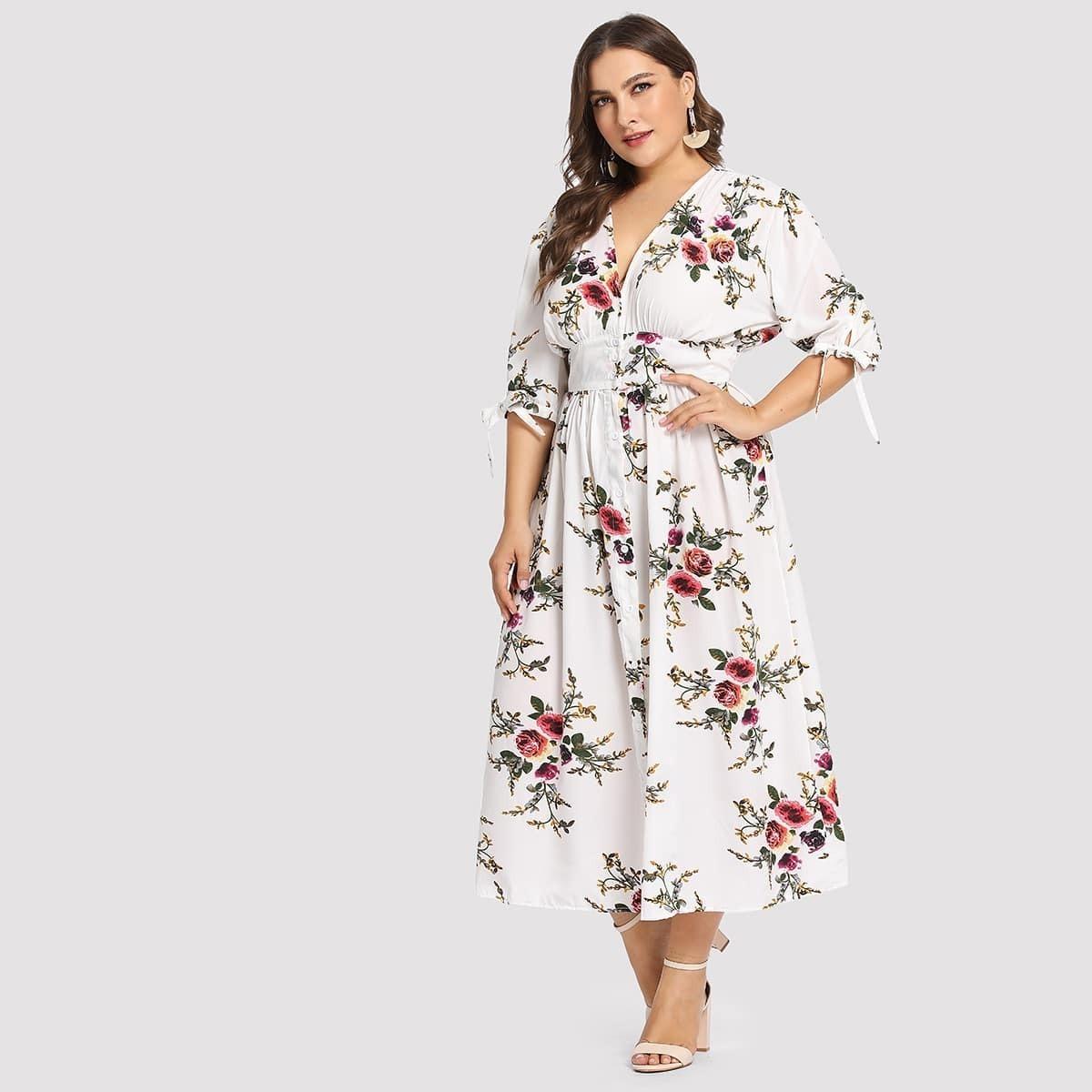 Wit Vakantie Bloemen Grote maten jurken Knoop