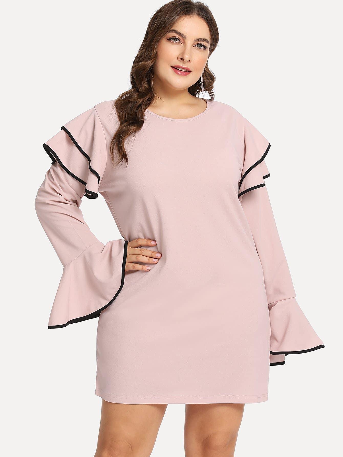 Плюс размеры твердое платье с белл-рукавом