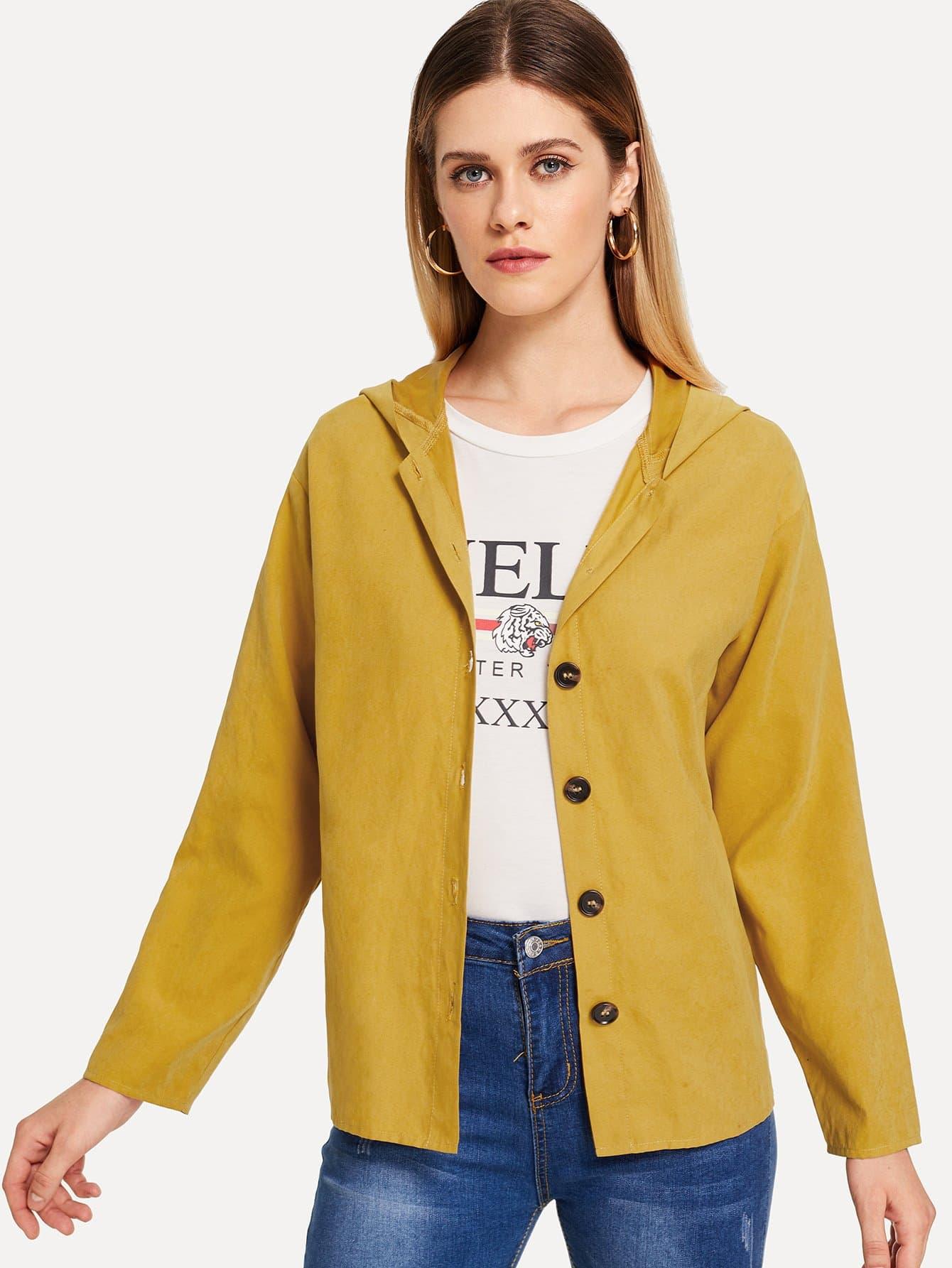 Купить Пальто с капюшоном на пуговицах, Victoriab, SheIn
