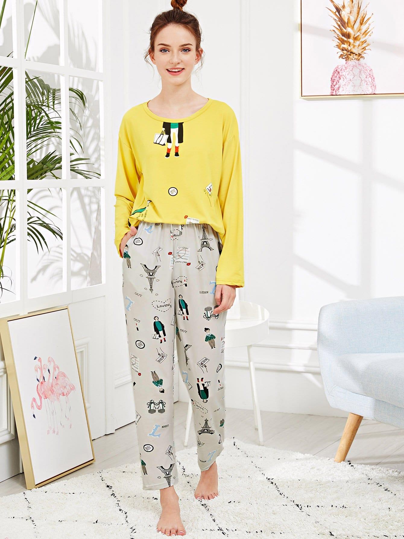 Набор пижамы с рисунками буквы и мультипликаций, Tory, SheIn  - купить со скидкой
