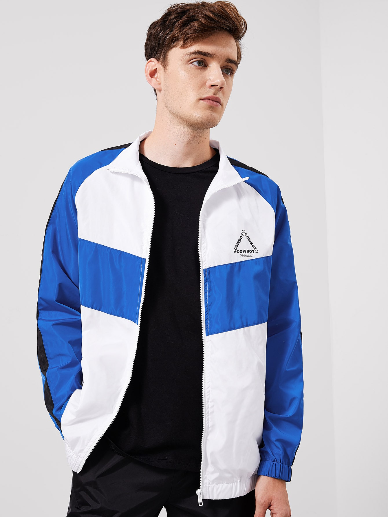 Купить Для мужчин контрастная куртка с регланом-рукавом, Jan, SheIn