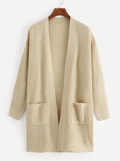 Open Front Pocket Patched Longline Cardigan