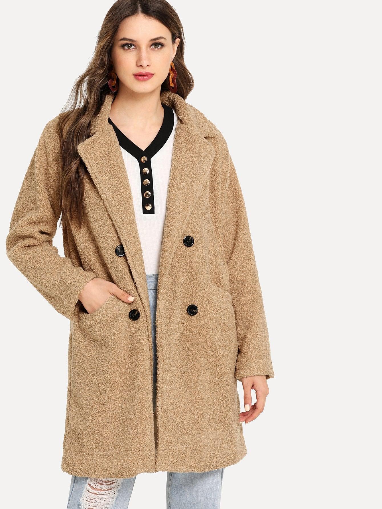 Купить Твердое тедди пальто с карманом, Tatiana, SheIn