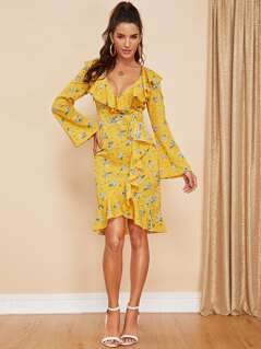 Ruffle Detail Bell Sleeve Floral Dress